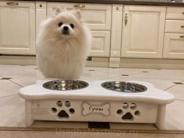 Миска на деревянной подставке для собак и кошек — Косточка