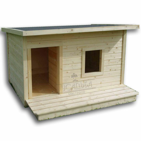 Утепленная будка с окном и с тамбуром для собаки