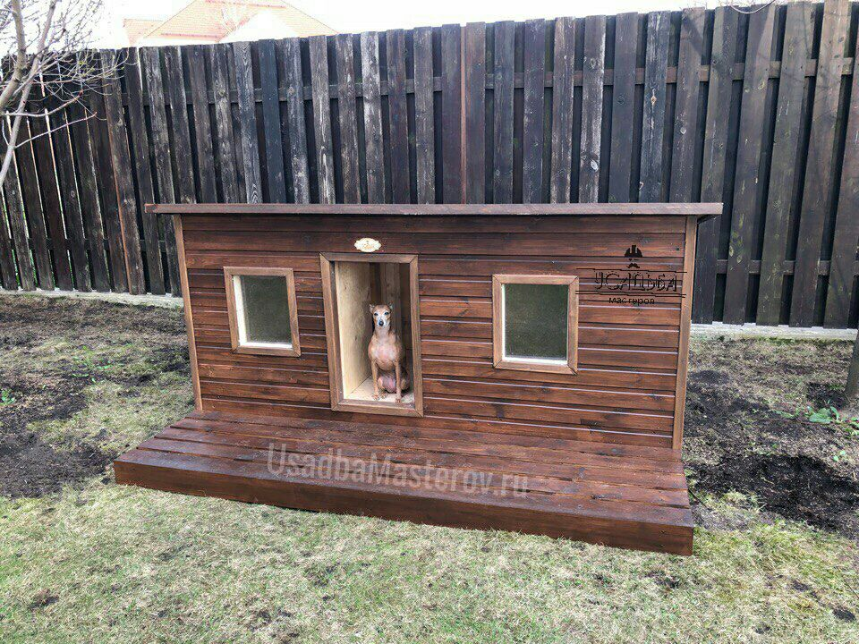 будка для двух собак с тамбуром