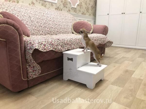 Прикроватная лесенка для собак с ящиками «Классик»