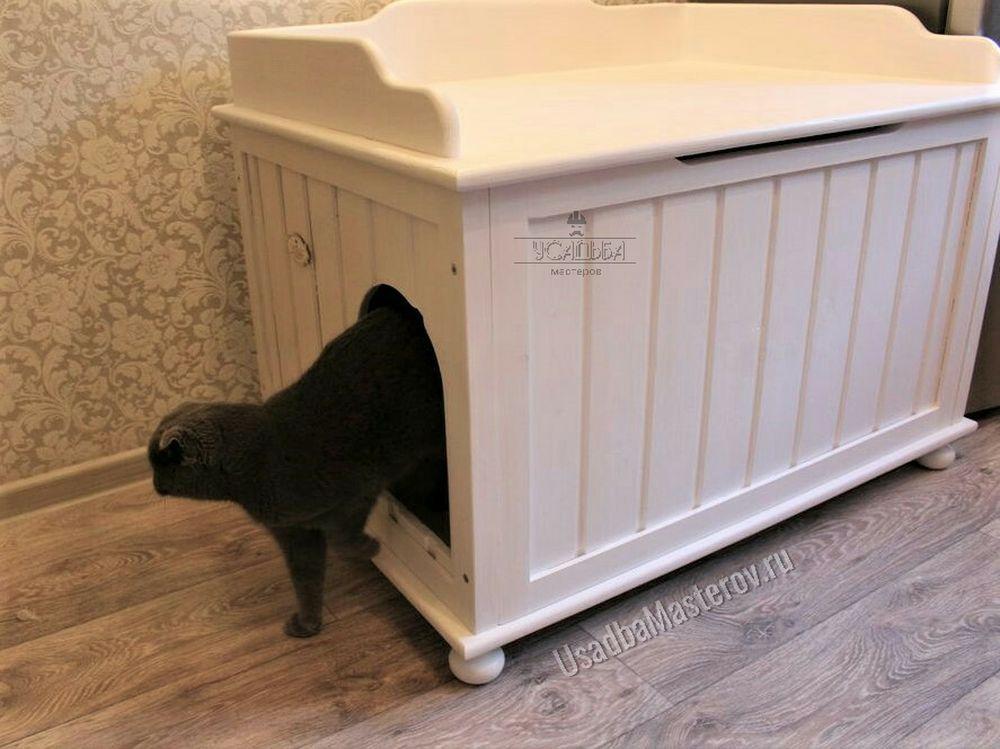 туалет для кошки закрытый с лежанкой