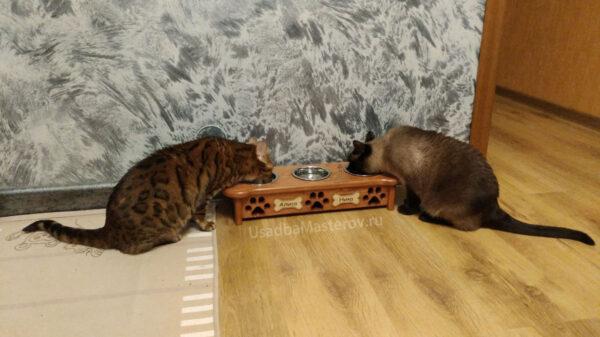 Кормушка на 3 миски — Косточка для собак или кошек